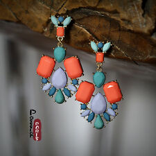 Boucles d`Oreilles Clous Goutte Gros Multicolore Orange Bleu Original CC 1