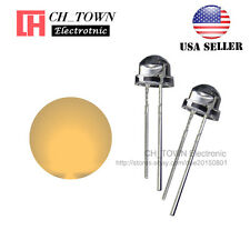 100pcs 5mm Straw Hat Warm-White Light Wide Angle Transparent LED Diodes USA