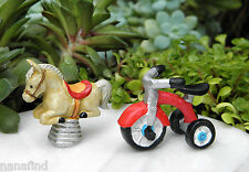 Miniature Dollhouse FAIRY GARDEN ~ Kids at Play Playground Tricycle Spring Horse
