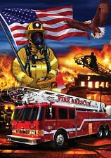 PATRIOTIC FIREFIGHTERS FIRE RESCUE Heroes Custom Decor House Flag USA Printed