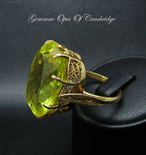 Test as 14ct Gold 35ct Lab Created Canary Yellow Sapphire Filigree Ring Sz N 12g
