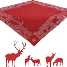Cerf Hiver Broderie de Noël Nappe milieu table 85 x 85 cm carré Polyester, Rouge