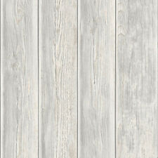 Rustic Wood Faux Textured Plank Panel Grey White Vinyl Feature Wallpaper J86817