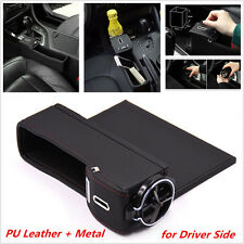 1x Black Leather Car Auto Seat Storage Box Gap Filler Coin Collector Cup Holder