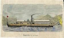 Stampa antica BATTELLO A VAPORE LOMBARDIA su Lago di Como 1881 Old antique print