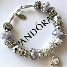 Authentic Pandora Sterling Silver Charm Bracelet With White Love European Charms