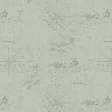 DRIFT AWAY SEAFOAM BLUE ATLANTIC PACIFIC OCEAN NAUTICAL MAP FABRIC