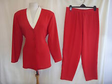 Ladies Trouser Suit - Hamells, size 16, red/cream, smart, office, polyester 7520
