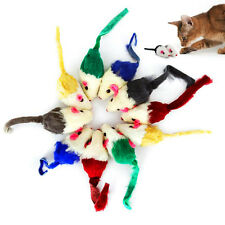 10pcs/pack Furry Mouse Cat Kitten Toy Fun Filled Fur Mice Toy Gravel Sounds
