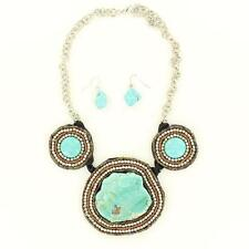 M&F Western Jewelry Womens Necklace Earring Beaded Turquoise Brown 29506