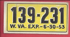 1953 TOPPS License Plate Trading Cards # 68 WEST VIRGINIA