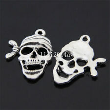 12xTibet silver the Pirate Skull Pendant Charm Beads accessories wholesale PL068