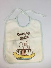 Vintage Snoopy Banana Split Baby Bib Tie Bib United Feature Syndicate PEANUTS