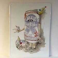 """Pabst Blue Ribbon PBR Birthday Cat Tin Sign Art Series NEW & F/S ~ 24"""" x 18"""""""