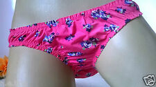 Silky Pink Buttery Liquid Satiny Bikini Panties Knickers   Rose Floral   8 XS