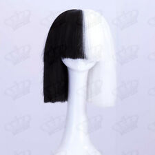 SIA Style Cosplay Ladies White/Black Straight Bob Synthetic Fashion Costume Wig