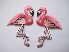#4090B Lot 2Pcs Pink Flamingo Bird Embroidery Iron On Appliqué Patch / Pair