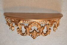 22x 9x 7.5 Vintage Ornate Gold/Brass-Tone Syroco w/Wood Top Wall Display Shelf