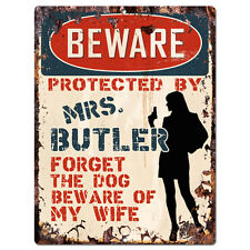 PPBW 0098 Beware Protected by MRS. BUTLER Rustic Tin Sign Funny Gift Ideas