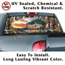 Oak Tree Camo with BASS BACK Window Graphic Perforated Film Decal Truck SUV
