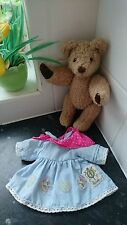 Vintage retro Harrods bear 5 point jointed with removable dress Xmas gift