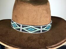 NATIVE AMERICAN STYLE BLACK BLUE SEED BEADS BEADED  HATBAND/BELT