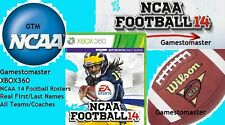 NCAA 14 for 2016 - 2017 SEASON FOOTBALL ROSTERS XBOX 360 -  NCAA 16 -17
