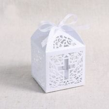 Ribbon Paper Laser Cut Out Cross Gift Candy Box Wedding Party Favor Boxes 50Pcs