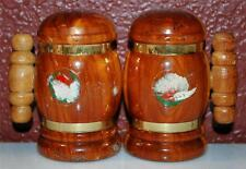 VINTAGE PINE WOOD SOUVENIR PAUL BUNYAN LOGGERS SALT & PEPPER SET SHAKERS ~SP5~
