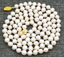 Beautiful! 7-8mm White Akoya Freshwater Cultured Pearl Necklace 34""