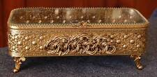 24K GOLD PLATED STYLEBUILT LG RECT 4 FTD BEVELED GLASS TOP VANITY JEWELRY CASKET
