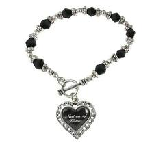 Matron of Honor Heart Silver Black Glass Bead Bracelet Jewelry Wedding Gift