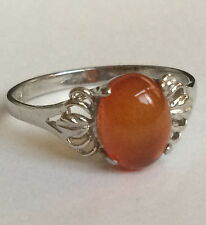 Sterling Silver Red Carnelian Solitaire Ring Cocktail Vintage Size 8 USA Seller