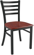 Metal Ladder Back Restaurat Chair in Black Finish and Mahogany Wood Seat