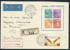 Schweiz NABA 1934 Blockausgabe Einschreiben Luftpost nach Bremen (S12569)