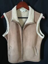 Orvis Women's Brown/Tan Faux Leather Suede And Sheepskin Vest Small