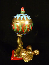 ORIENTALIST BRONZE/BRASS HAND PAINTED METAL FIGURAL INCENSE BURNER – CIRCA 1905