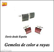 Gemelos acero rayas para camisa colores rojo ó negro