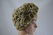 VINTAGE 1960s Taupe Arruffato Cappello di velluto