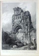 Burgos. Convento de los Carmelitas. Grabado original ,Roberts,1837