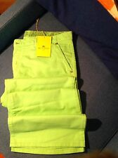 NWT - ETRO Milano - NEON GREEN COTTON FLARED CHINO JEANS A - VERY HIP! (34)
