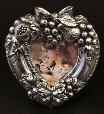 "NIB Pewtertone Antique Finished Grapes & Fruit Heart Photo Frame Fits 1-1/2""x2"""