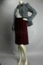 New with Tags PRADA Burgundy Soft Velvet Pleat Pencil Skirt 4 38