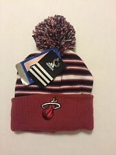 NBA Miami Heat Beanie Adidas Toddler 4-5 Hat Cap Cuffed Knit Pom Pom Striped