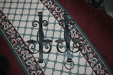 Vintage Wrought Iron Gothic Medieval Candlestick Holders-Pair-Large-Wall Mount