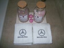 Embroidered  Bath or Gym White Hand Towels car logo Mercedes -Fathers day gift