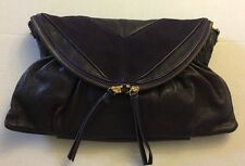 MS Martine Sitbon Paris Eggplant Leather Suede Handbag Clutch Crossbod Purse New