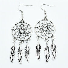 New  Jewelry Vintage Silver Plated Dream Catcher Long Drop Earring Vogue Gift
