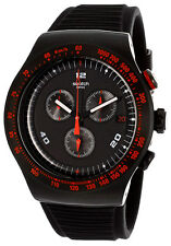 SWATCH RACE TROPHY CHRONOGRAPH BLACK DIAL SILICONE STRAP MEN'S WATCH YOB401 NEW
