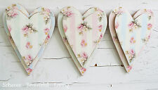 Romantic Shabby Rose Hearts Plaque Chic Wall Art Home Decor Pastel Colors